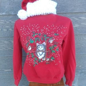 Cat in the window holiday sweater